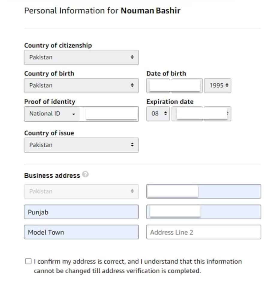 Step 1 - Personal Information