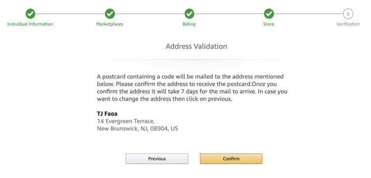 Step 5 – Address validation by amazon