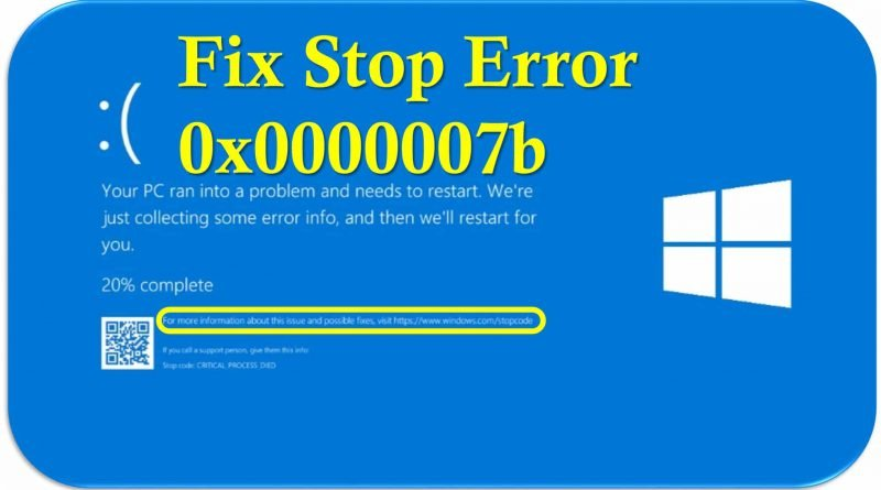 how to fix blue screen stop error code 0x0000007b