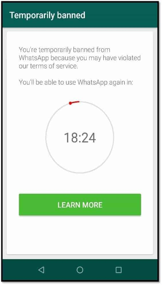how to activate temporary ban whatsapp number